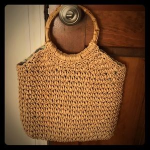 Vintage straw bag with bamboo handle